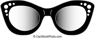 vendimia, damas, ojo, eyewear, gato