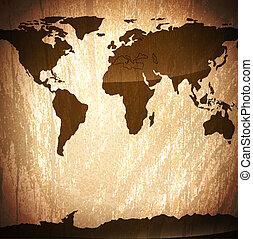 vendimia, de madera, plano de fondo, con, mapa del mundo