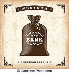 vendimia, dinero, occidental, bolsa