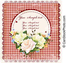 vendimia, diseño, con, rosas