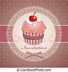vendimia, diseño, lindo, cupcake