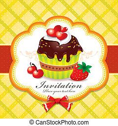 vendimia, diseño, plantilla, cupcake