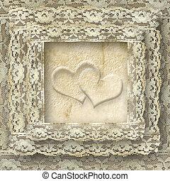 vendimia, dos, encaje, tarjeta, corazones