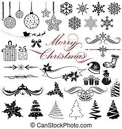 vendimia, elementos, diseño, navidad
