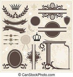 vendimia, elementos, diseño, plano de fondo, colección