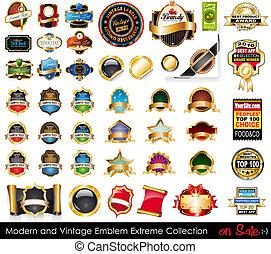 vendimia, emblemas, moderno, extremo, collection.