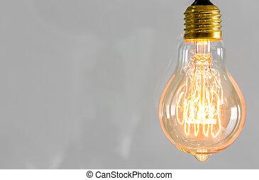 vendimia, encendido, luz, bombilla