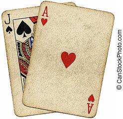 vendimia, encima, aislado, white., sucio, tarjetas, veintiuna