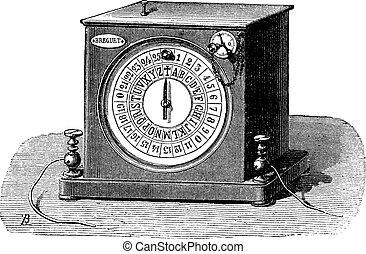 vendimia, esfera, receiver's, telégrafo, engraving.