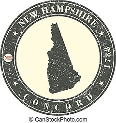 vendimia, estampilla, con, mapa, de, new hampshire