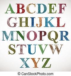 vendimia, estilo, alphabet.