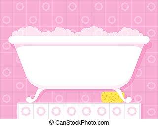 vendimia, estilo, bañera, burbujas, jabonoso