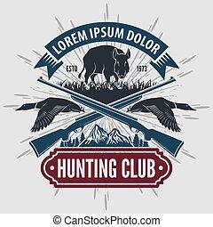 vendimia, estilo, caza, club, logotipo, con, caza, rifles.