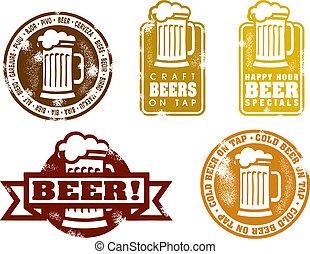 vendimia, estilo, cerveza, sellos