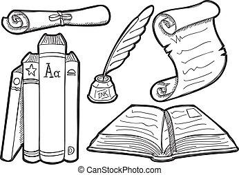 vendimia, estilo, conjunto, libro, garabato