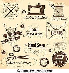 vendimia, estilo, costura, sastre, etiqueta