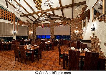 vendimia, estilo, interior del restaurante