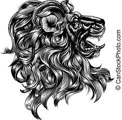 vendimia, estilo, león, woodblock