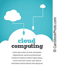 vendimia, estilo, nube, informática, cartel