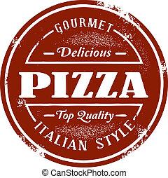 vendimia, estilo, pizza, estampilla