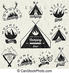 vendimia, estilo, símbolos, para, montaña
