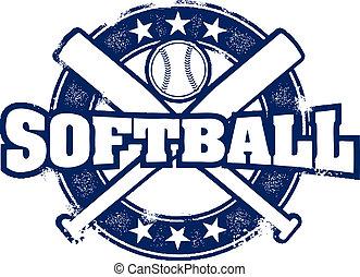 vendimia, estilo, sofbol, deporte, estampilla