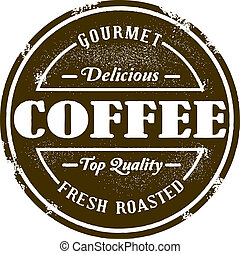 vendimia, estilo, tienda de café, estampilla