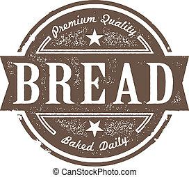 vendimia, etiqueta, cocido al horno, pan fresco