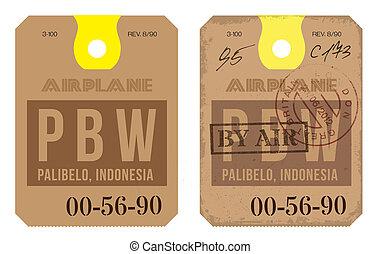 vendimia, etiqueta de equipaje