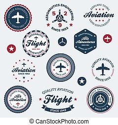 vendimia, etiquetas, aeronáutica