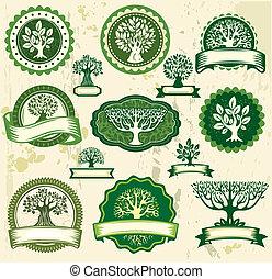 vendimia, etiquetas, conjunto, árboles