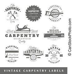 vendimia, etiquetas, conjunto, carpintería