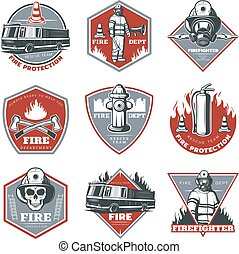 vendimia, etiquetas, conjunto, firefighting