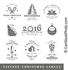 vendimia, etiquetas, conjunto, navidad