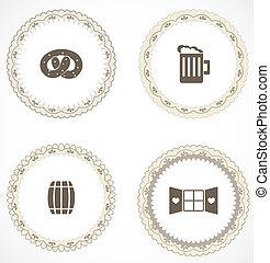 vendimia, etiquetas, iconos