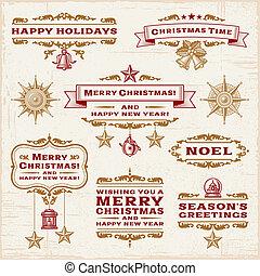 vendimia, etiquetas, navidad