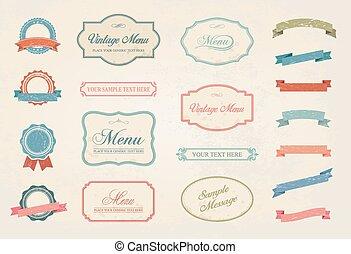 vendimia, etiquetas, vector, diseñe elementos, colección, conjunto