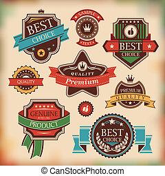 vendimia, etiquetas, y, insignias