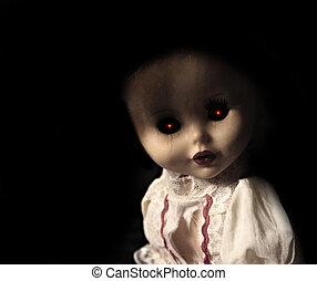 vendimia, fantasmal, muñeca