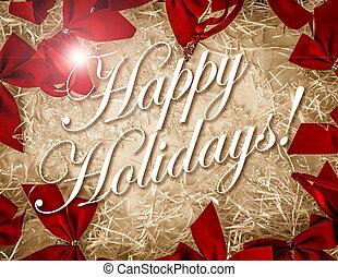vendimia, feliz, feriado, tarjetas, cubierta