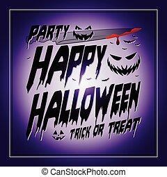vendimia, feliz, halloween, typographical, fondo púrpura, con, calabazas, y, cuchillo