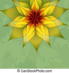 vendimia, flor, fondo verde
