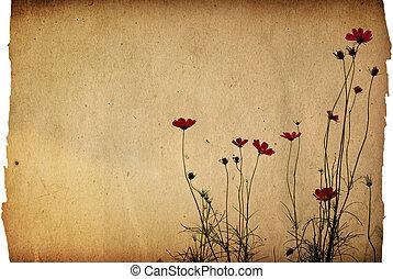 vendimia, flor, papel, plano de fondo