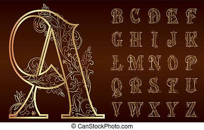 vendimia, floral, alfabeto, conjunto
