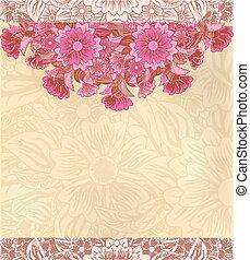 vendimia, floral, decorativo, backgroun