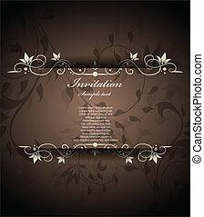vendimia, floral, invitación