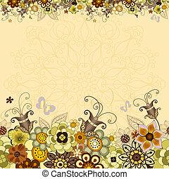 vendimia, floral, marco