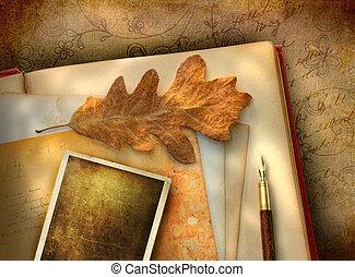 vendimia, floral, papel, con, foto
