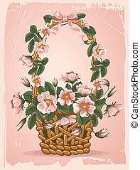 vendimia, floral, plano de fondo