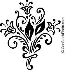 vendimia, floral, plano de fondo, con, patrón, de, flower.